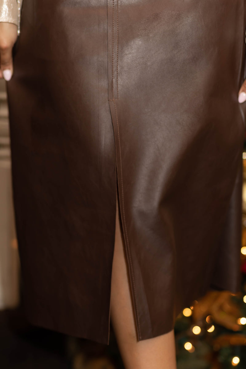Hot Cocoa Leather Skirt