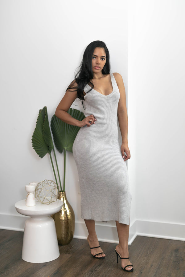 Heatherette Ribbed Dress