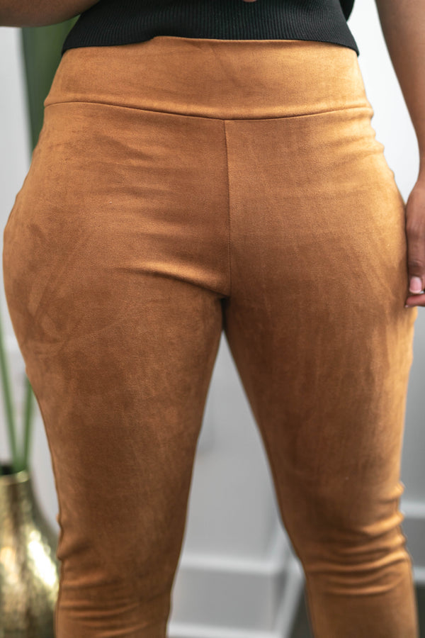 Smooth Suede Camel Leggings