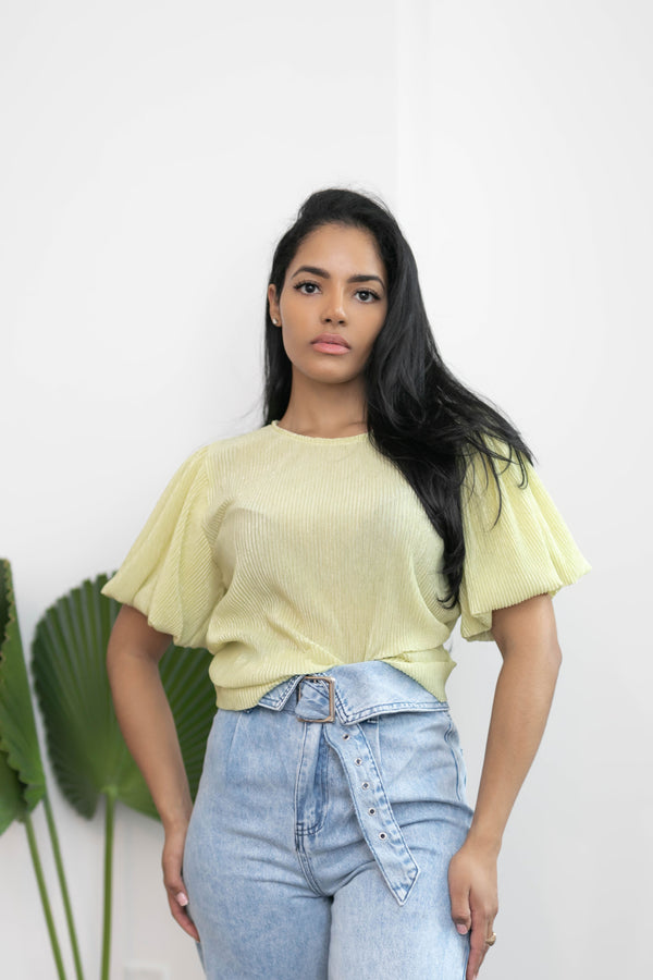 Lemon Lime Puff Sleeves Top