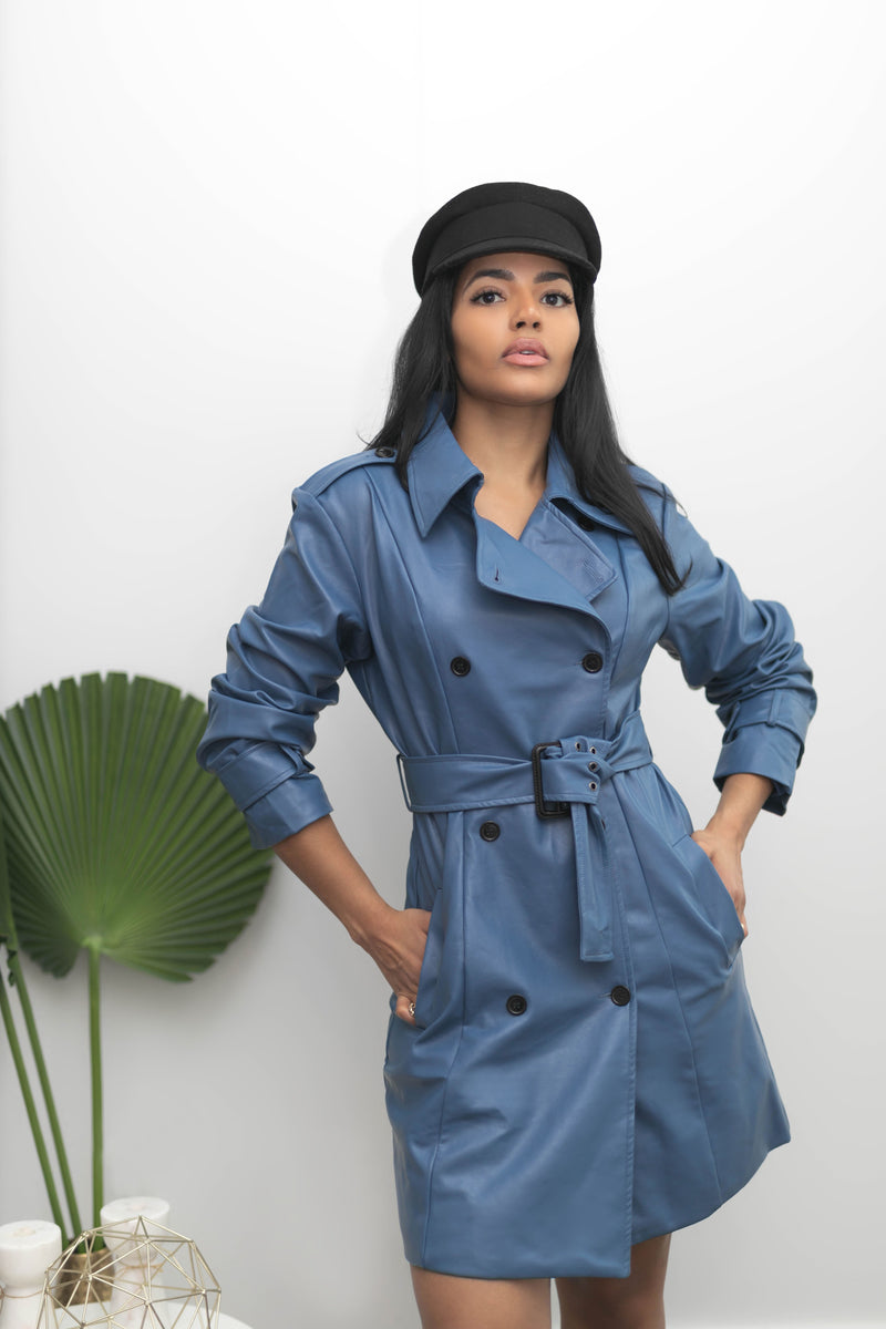 Bleu Faux Leather Trench