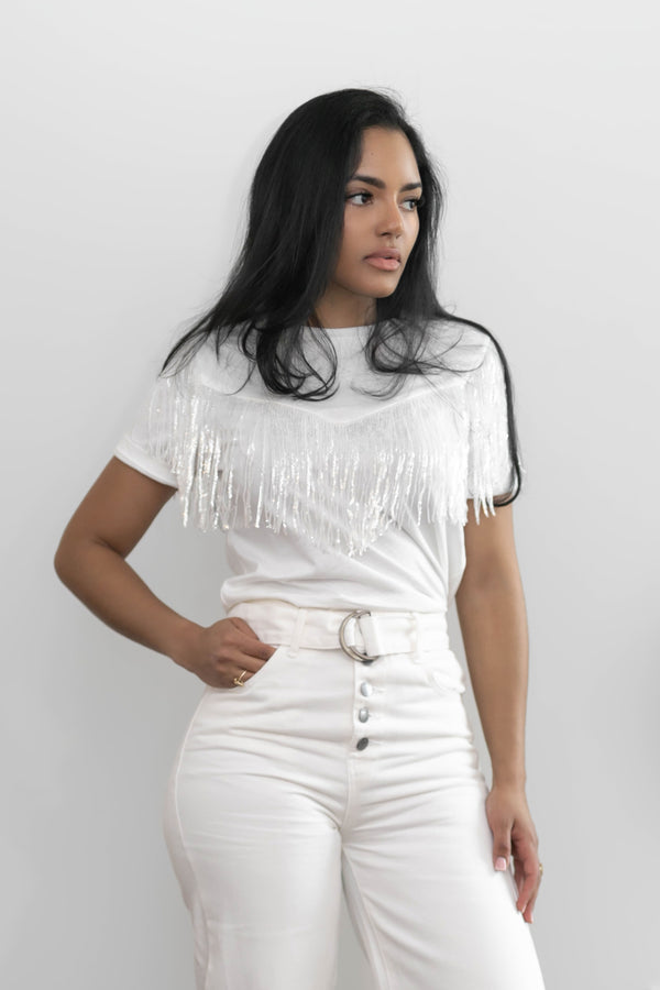Sparkly Fringe White Top