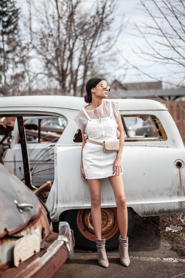 White Buckle-Strap Dress