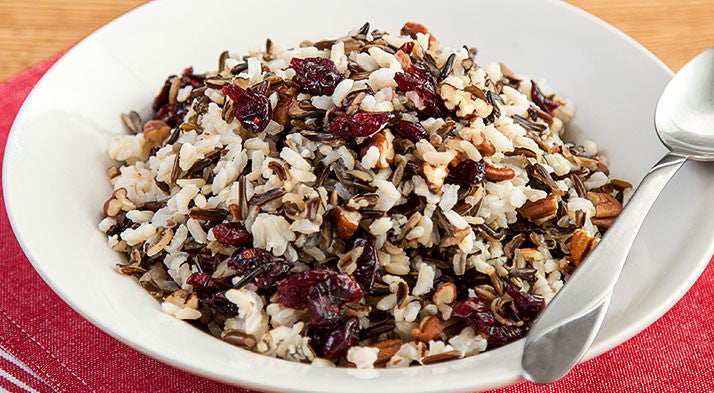 wild rice with cranberries and pecans
