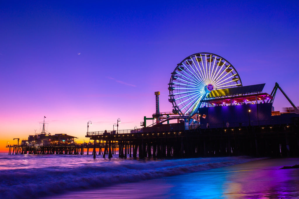Santa Monica State Beach and Pier at Night