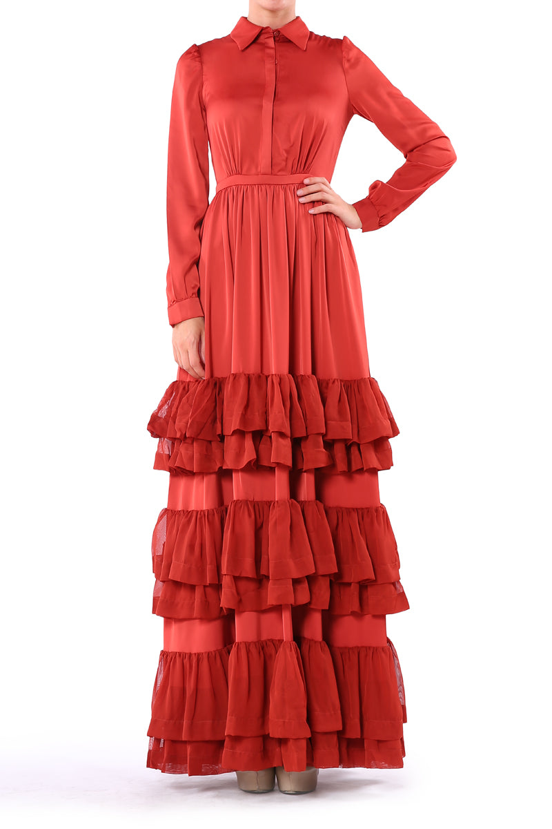 Terracotta Ruffle  Dress