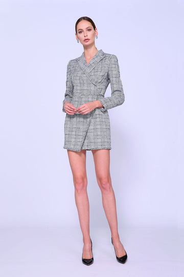 Jacquard Wrap Mini Dress