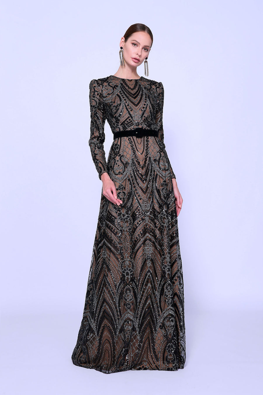 Embellished Long Sleeve Gown