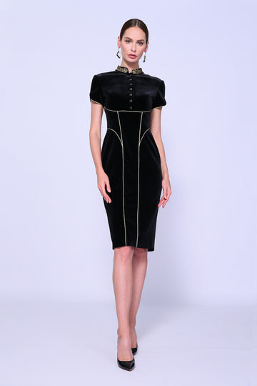 Mandarin Collar Midi Dress