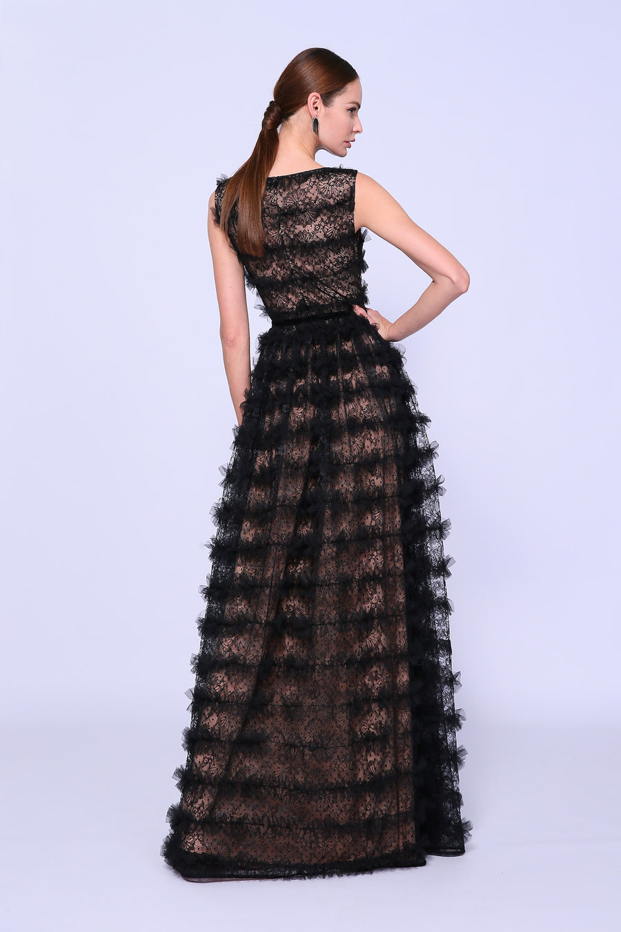 Feathered Full Sleeve Evening Gown
