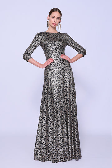 Metallic Cheetah Evening Gown