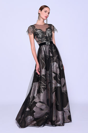 Layered With Lace Evening Gown