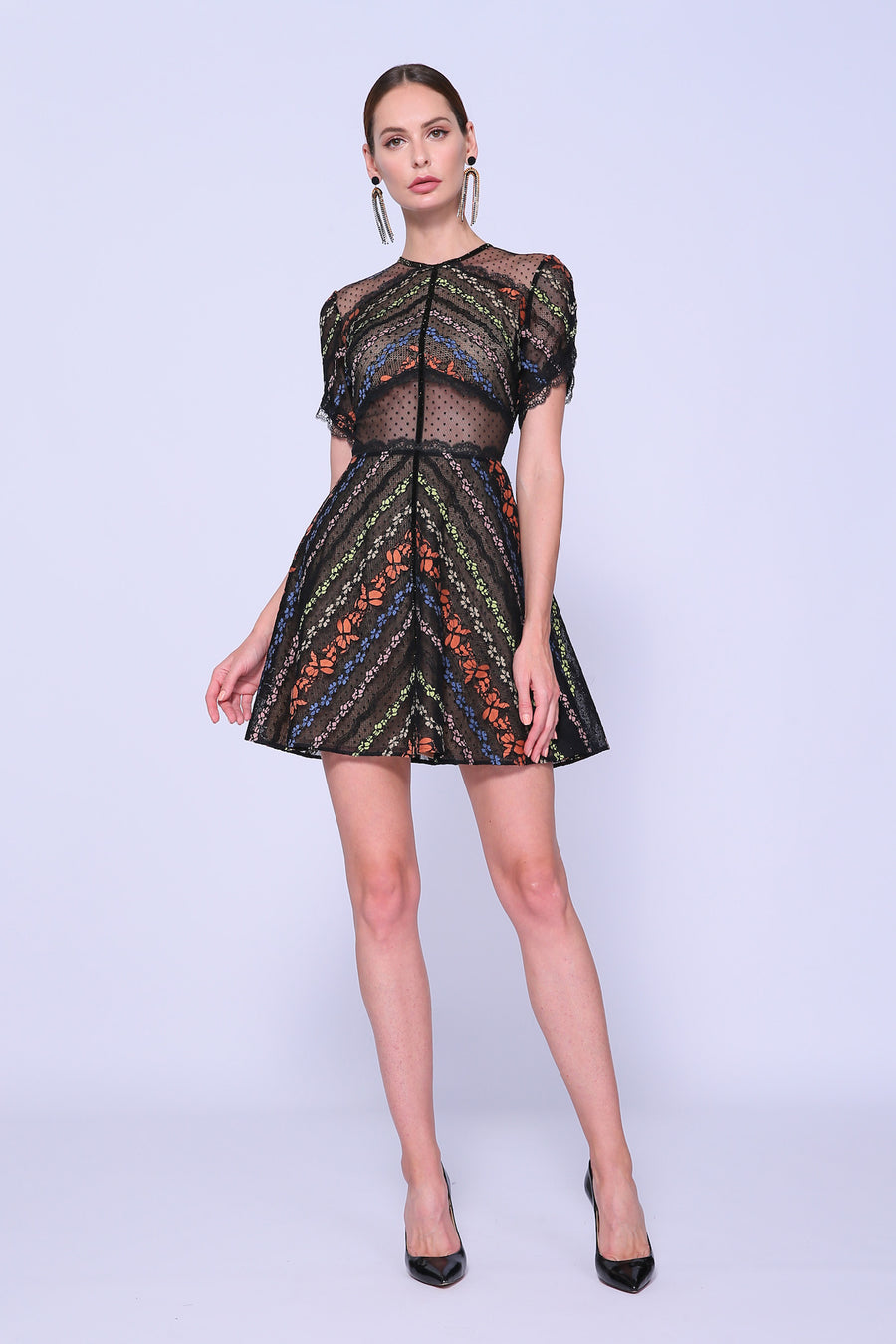 Mixed Lace Mini Dress