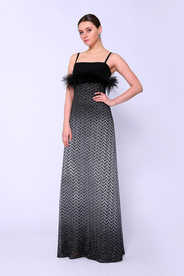 Metallic Chevron Gown