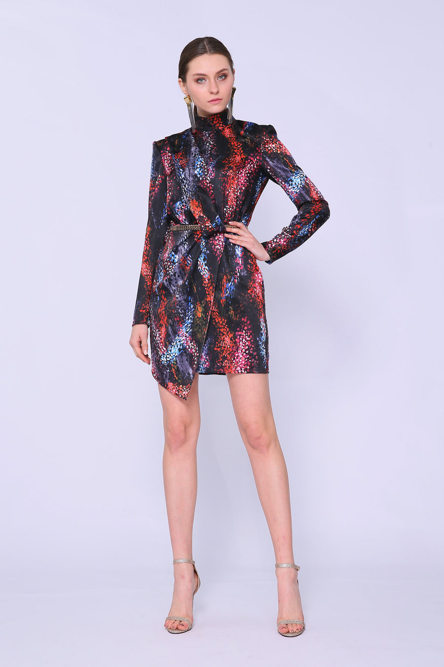 High Neck Wrap Dress