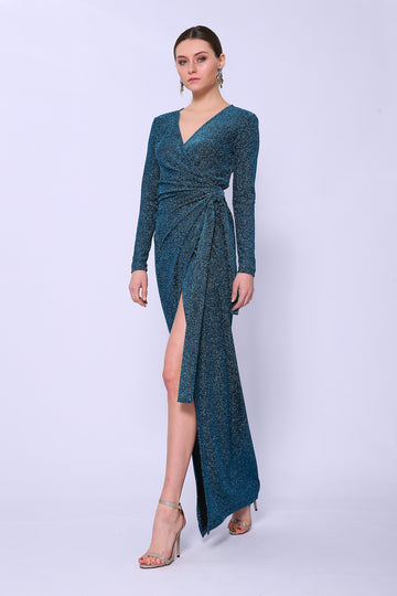 Aquamarine Sparkle Wrap Dress