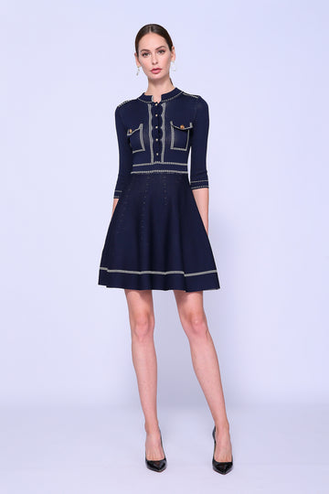 Contrast Stich Shirtdress