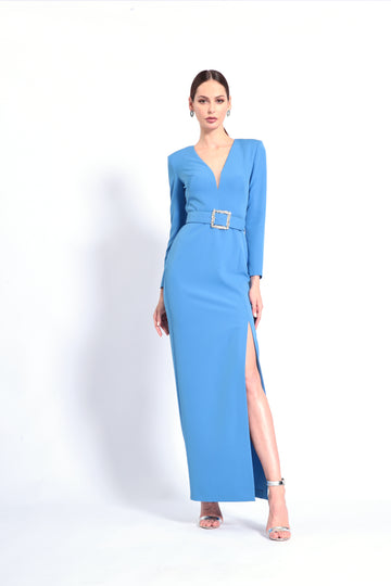 Long Sleeved High Slit Gown