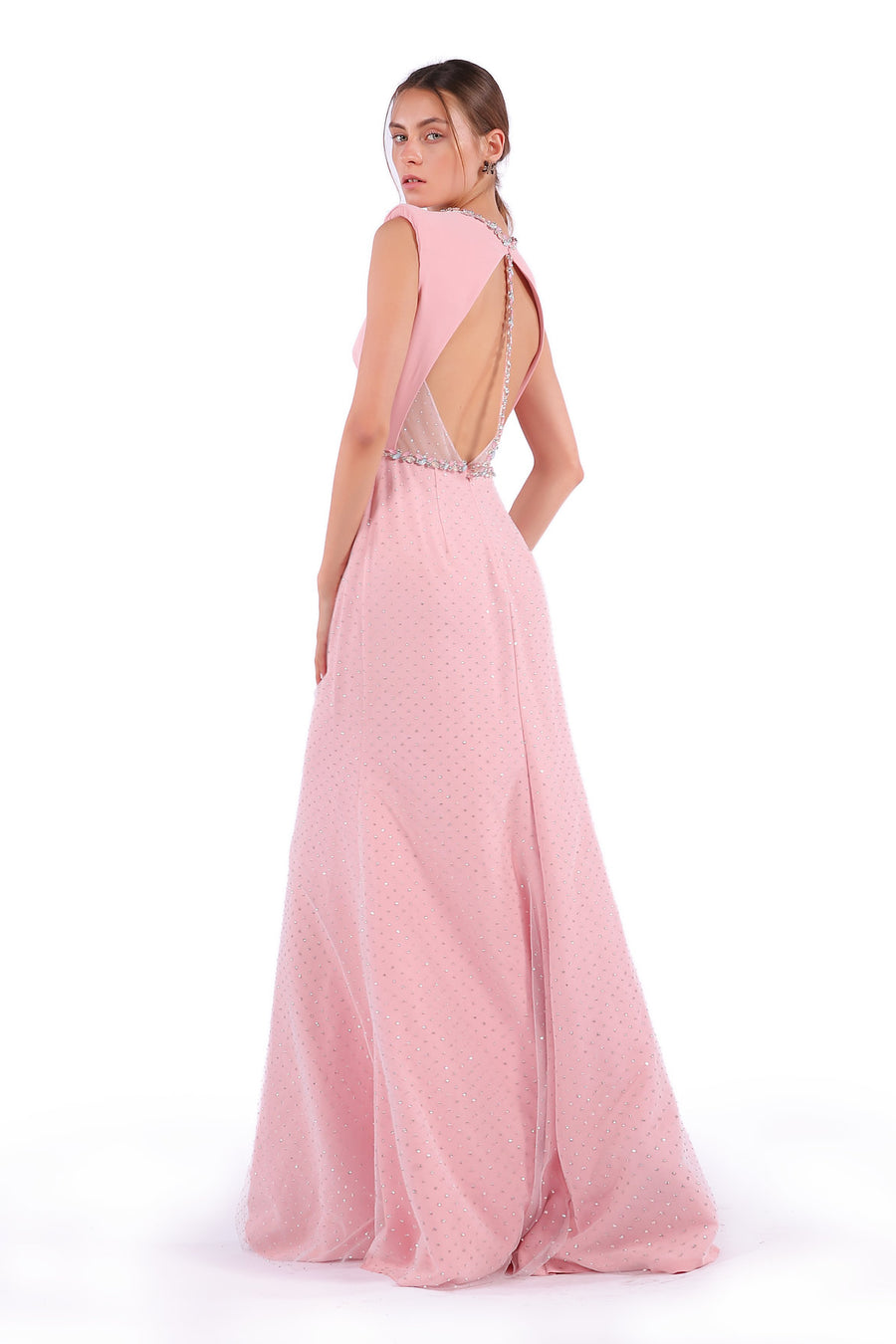 Iridescent Open Back Evening Gown