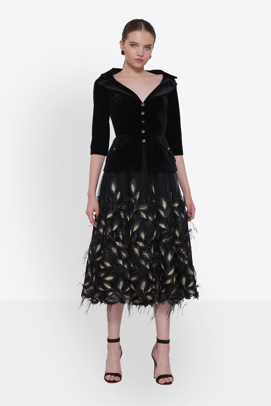 Black & Gold Feathered Evening Dress