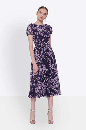 Lavender Blue Floral Midi Dress