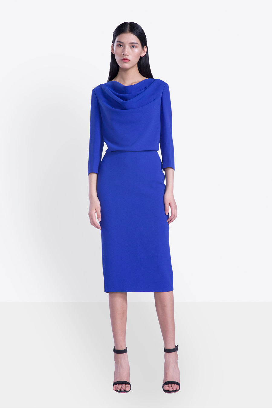 Blue Cowl Neck Pencil Dress