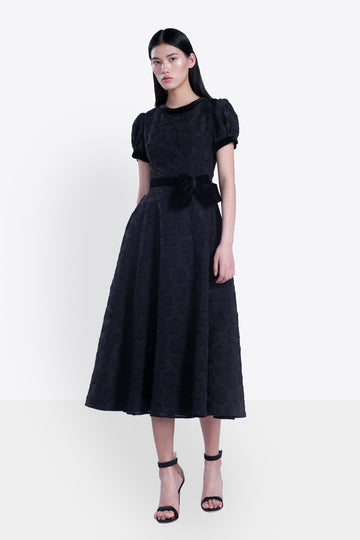 Puff Sleeve Velvet Bow Tea Dress