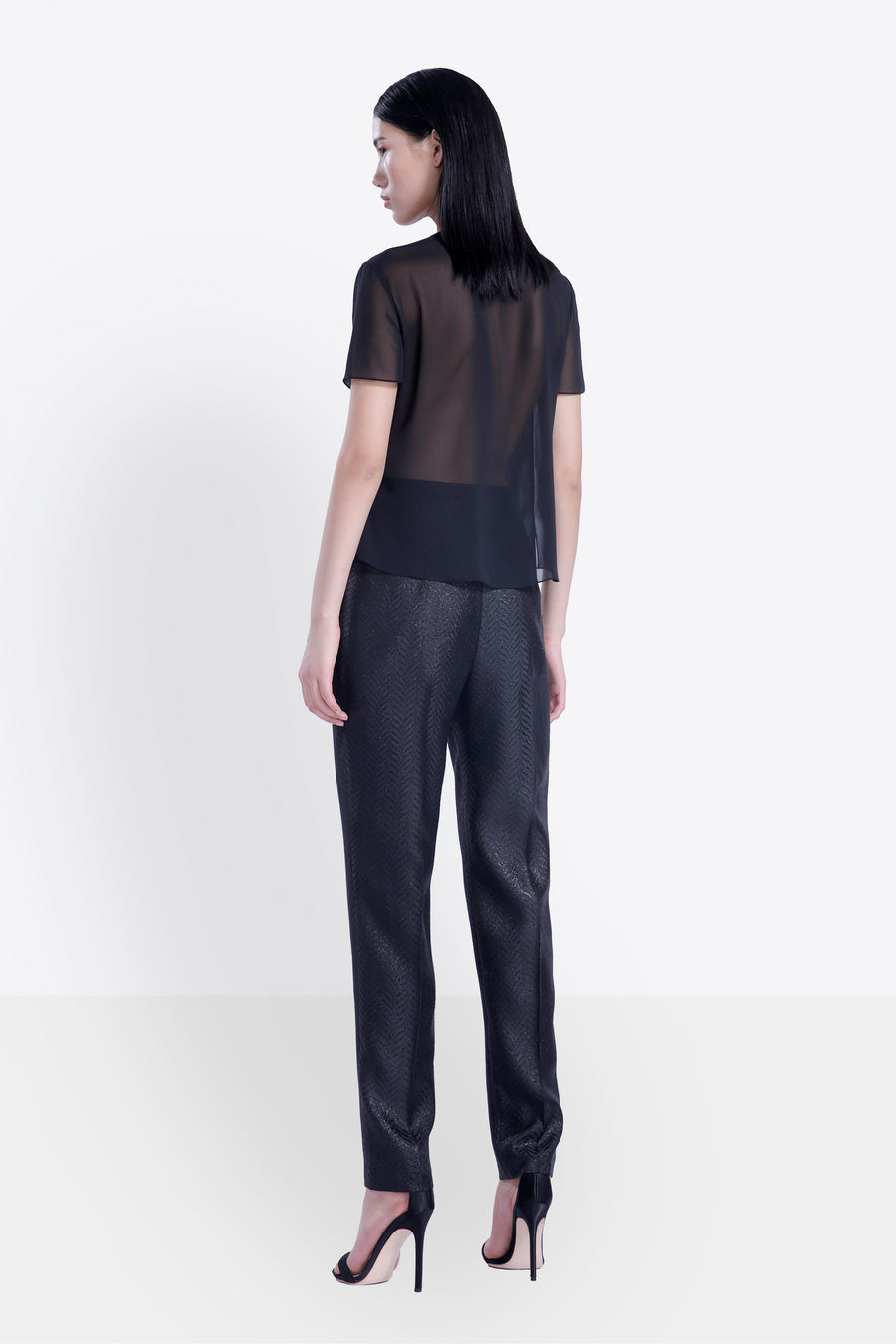 High-Waist Tapered Jacquard Pants