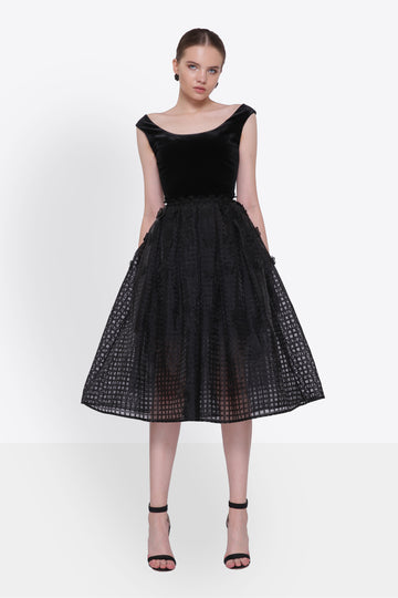 Black A-Line Caged Dress