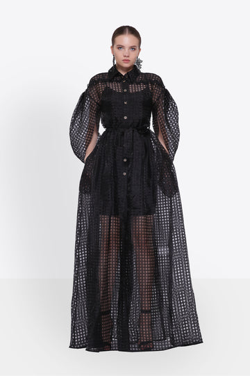 Black Organza Maxi Shirt Dress