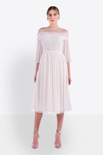Illusion Off-Shoulder Plisse Dress