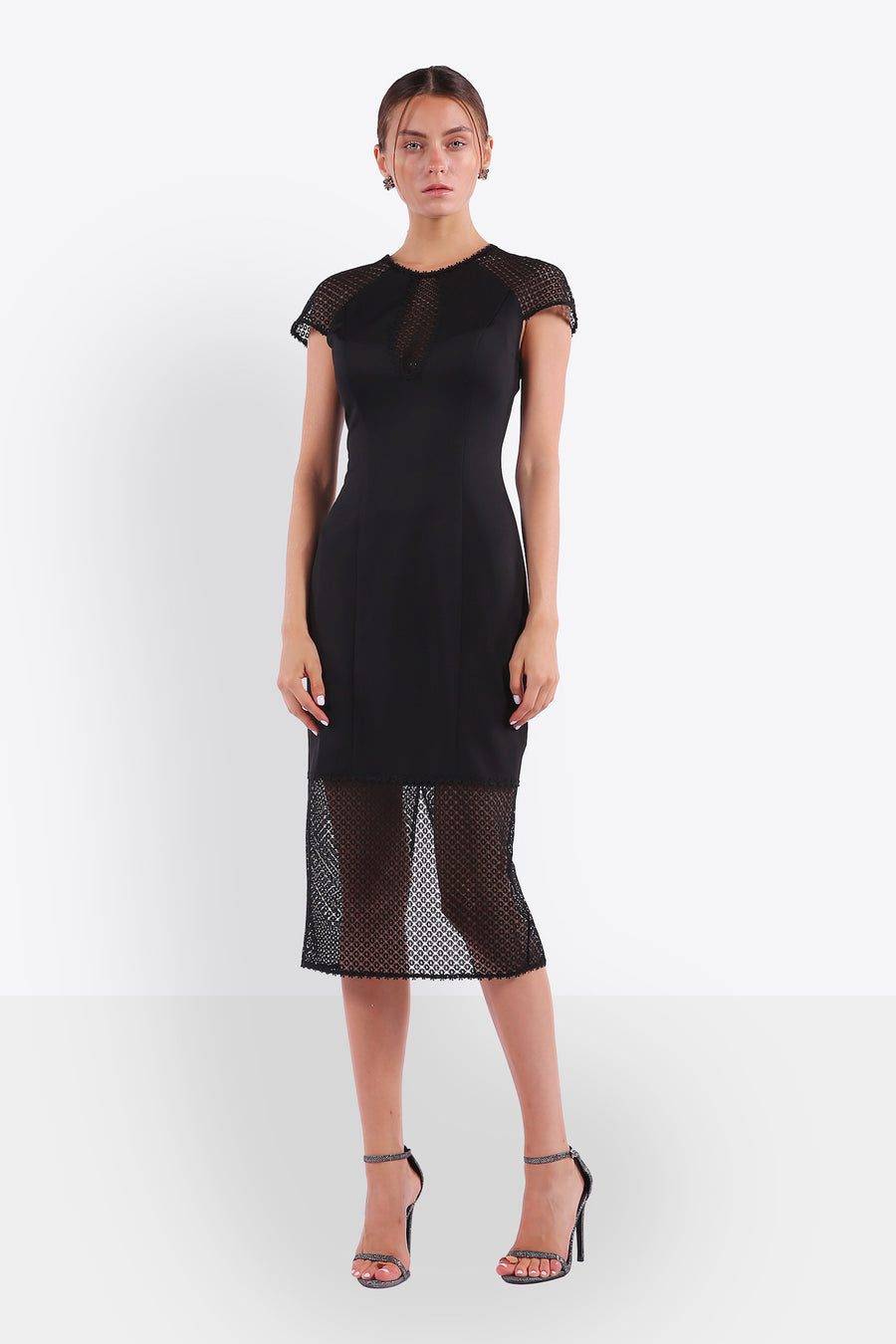 Sheer Panel Sheath Dress