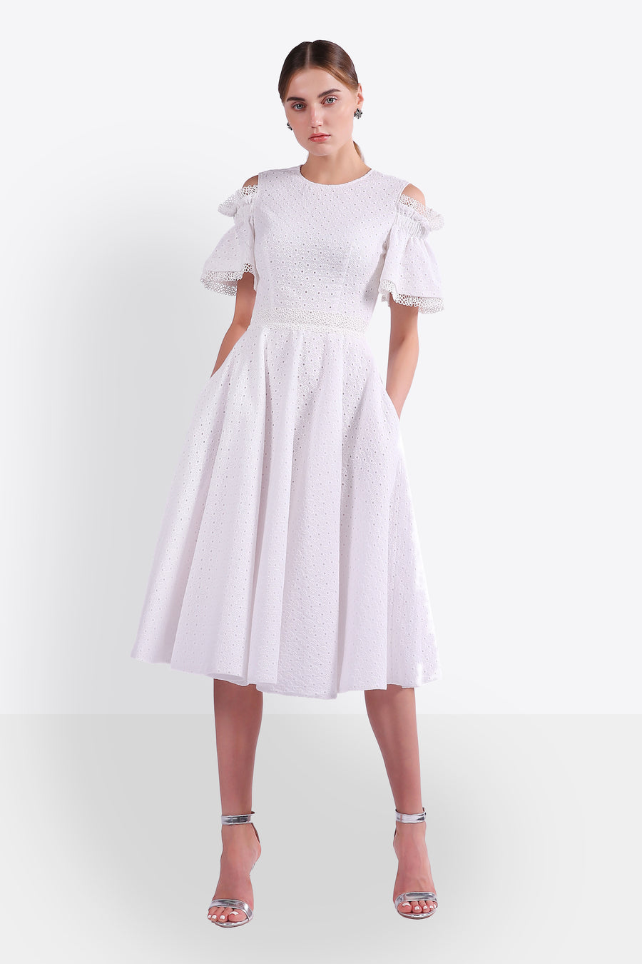 Bell-Sleeve Tea Length Eyelet Dress