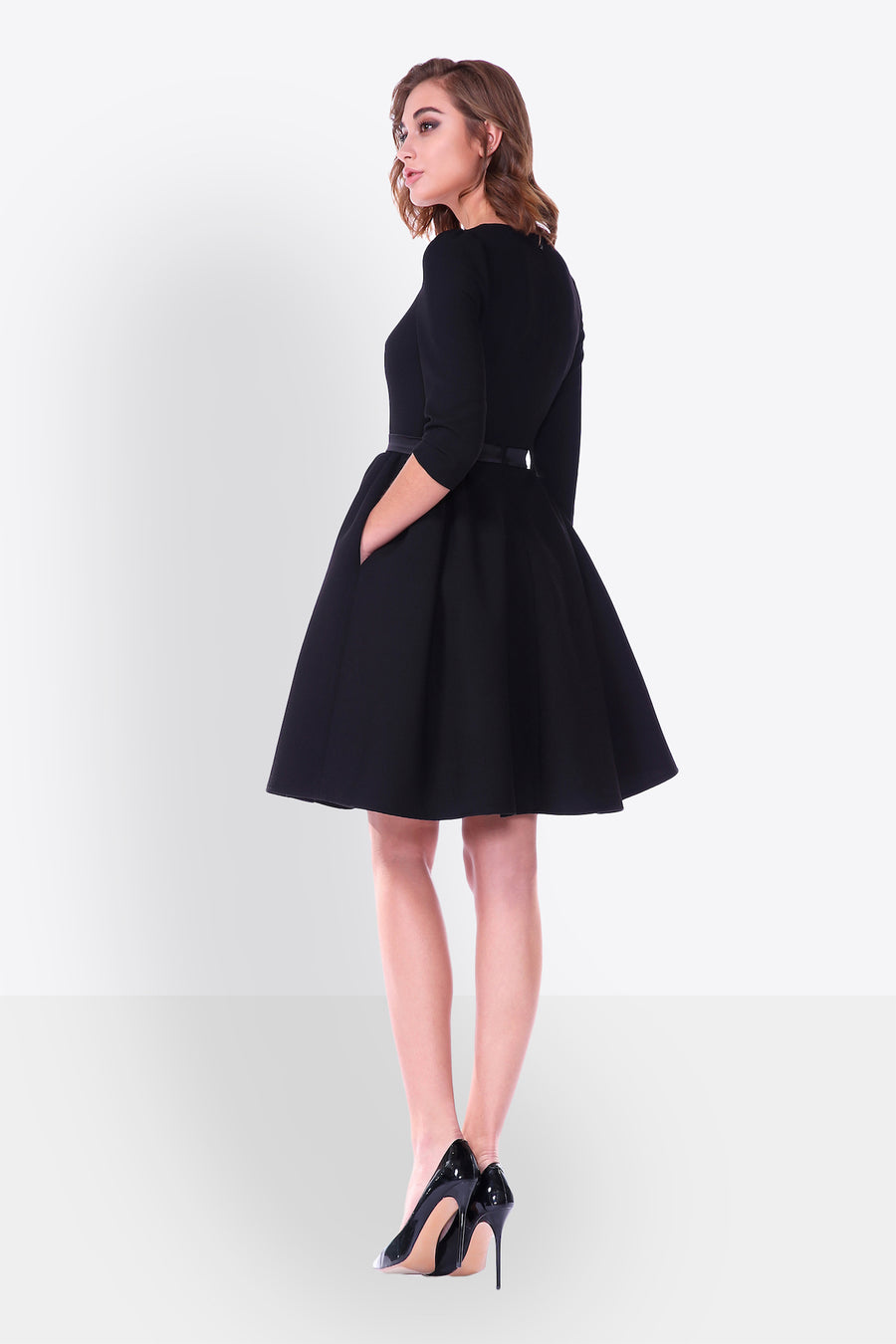 Sabrina Neck Fit and Flare Cocktail Dress
