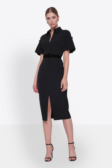 Tailored Midi Dress with Pleated Sleeves