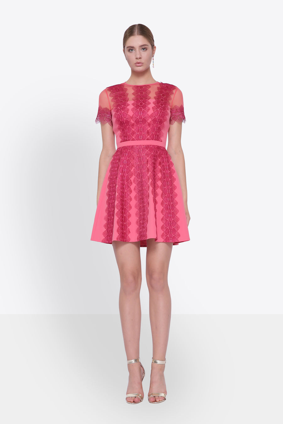 Lace Organza Mini Dress