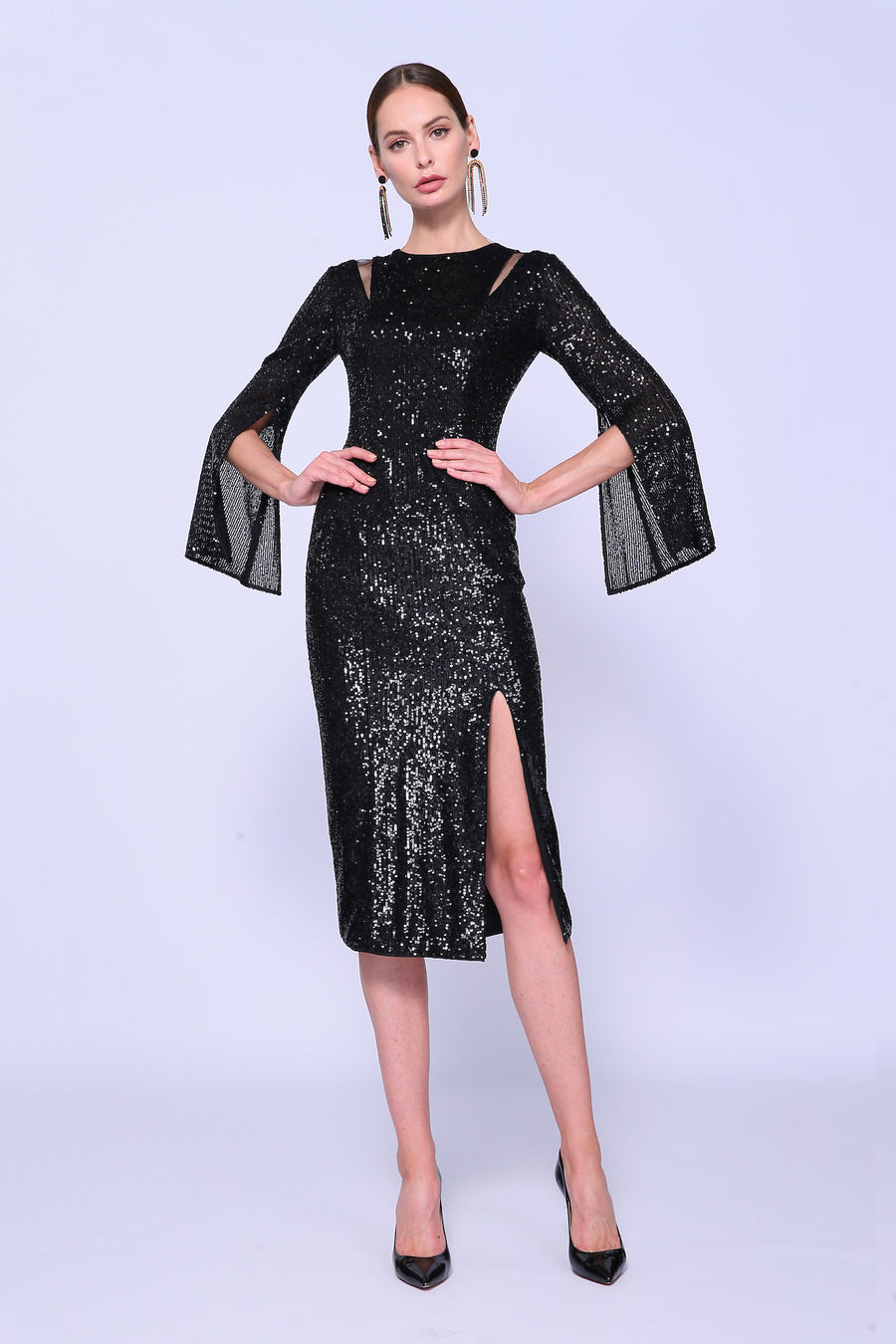 Cut Out Metallic Dress