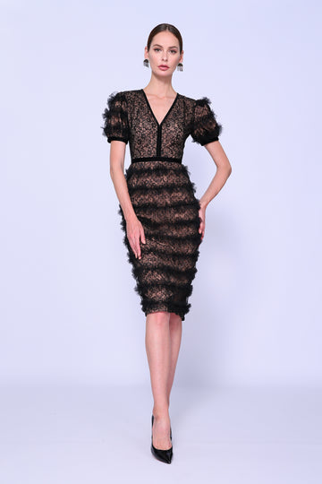 Feather Fitted Cocktail Dress