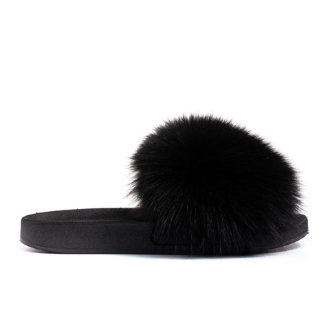 Confetti Boutique Black Fox Fur Slides