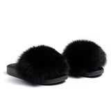 Confetti Boutique Black Fox Fur Slippers