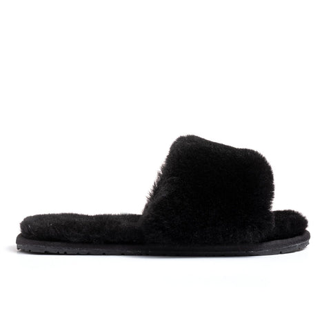 Confetti Boutique Black Lamb Fur Slippers