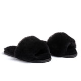Confetti Boutique Black Lamb Fur Slides