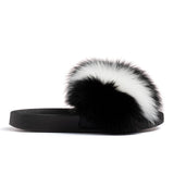 Confetti Boutique Black White Fox Fur Slides