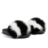 Confetti Boutique Black White Fox Fur Slippers