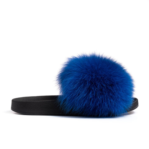 Confetti Boutique Royal Blue Fox Fur Slides