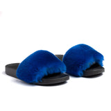 Confetti Boutique Blue Rabbit Fur Slippers