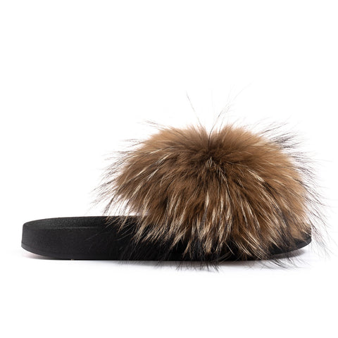 Confetti Boutique Brown Black Fox Fur Slides