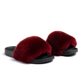 Confetti Boutique Burgandy Rabbit Fur Slides