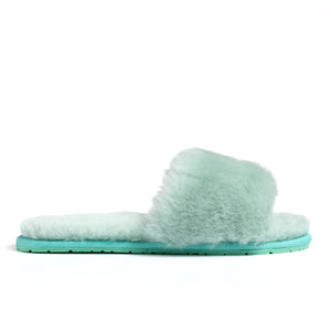 Confetti Boutique Green Lamb Fur Slippers