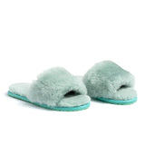 Confetti Boutique Green Lamb Fur Slides